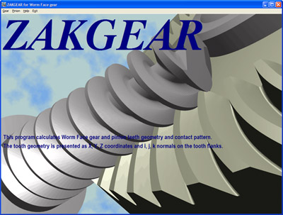 Main screen of worm face gear design and manufacturing software.